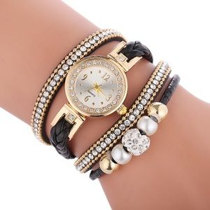Multi Layer Black Bracelet Diamond Fashion Watch